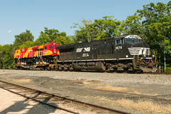 17-4623cr (George Hamlin) Tags: remington norfolk southern railroad freight train ns 098 indian railways es43acmi diesel locomotive 49002 class wdg4g colorful red yellow flat car transit port photo decor george hamlin photography et44ac 3679 general electric