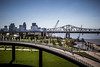 The City of Louisville (calebbodaniel) Tags: cityscape travel kentucky bridge walkway louisville summer city urban water river color tractor vintage antique abandoned farming old rust rusty decay idle front grill canon canont3i canon24105f4