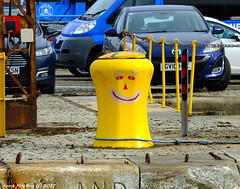 Scotland Greenock the ship repair dock a happy face on a capstan 13 September 2017 by Anne MacKay (Anne MacKay images of interest & wonder) Tags: scotland greenock ship repair dock happy face capstan xs1 13 september 2017 picture by anne mackay