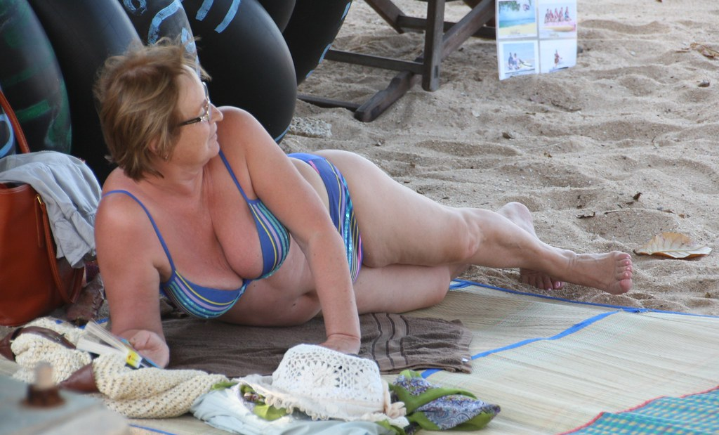 Beach mature candid