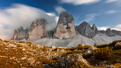 Tre Cime (Croosterpix) Tags: mountains alps dolomiti dolomites longexposure clouds sky rocks nature landscape italy travel hiking sony a7r nikkor1835 filter nisi
