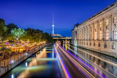 Colours on the River (Almira Kljuco Photography) Tags: berlin germany city nikon haida light river spree bluehour water ship citylights colours reedereiriedel sternundkreis bodemuseum strandbarmitte tvtower fernsehturm lighttrails