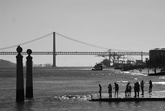 Tagus river and Bridge (Lenaprof) Tags: 7daysofshooting week4 bridges blackandwhitewednesday