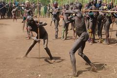The battle (martien van asseldonk) Tags: ethiopia martienvanasseldonk donga stickfighting surma koka