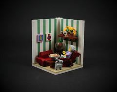 06 - Grandma (CeciΙie) Tags: lego moc grandma cmf minifig vignette vig livingroom goldfish sofa