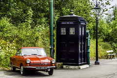 Stepping back in time (Elaine 55.) Tags: crichtramwaymuseum classiccar drwho tardis lamp posts policebox