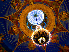 The Chandelier   ©2017r hahs (rhahs) Tags: ©rhahs decor art lighting ceiling ny us gold rhahs chandelier architecture glass skylights vaults sky interior theartistseyes blue incandescent painting