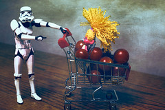 Look... (Dotsy McCurly) Tags: stormtrooper starwars curly hair girl grocery shopping basket fruit tomatoes stilllife photoshop textures canoneos80d efs35mmf28macroisstm smileonsaturday freshandfruity hsos
