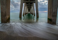 Tunnel Vision (tshabazzphotography) Tags: pier ocean beachbum beachlandscape beachphotography gulfofmexico gulfcoast emerald green fishingpier venicebeach floridalifestyle floridaliving florida tropical canon seascape longexposurejunkies cloudlovers cloudheaven cloudy vanishing point vanishingpoint distance
