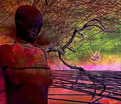Mad world / Artist: Krystali Rabeni (Bamboo Barnes - Artist.Com) Tags: secondlife art digitalart virtualart surreal vivid dark black green orange light shadow bamboobarnes lea splitscreen installation red purple figure fall krystalirabeni madness lea15