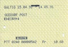 1991 PTT Return Bus Ticket Seedorf Post to Bern (Ray's Photo Collection) Tags: scan scanned document 1991 ptt return bus travel ticket seedorf post bern berne be switzerland schweiz suisse swiss postauto postbus