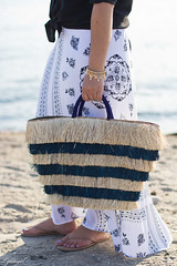 black button down, bohemian maxi skirt, kayu pinata tote-7.jpg (LyddieGal) Tags: swap beach blackandwhite fashion jcrew maxi outfit panamahat style summer thrifted wardrobe weekendstyle white