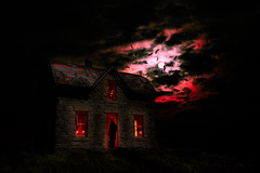 Honey, I'm Home (·tlc∙) Tags: spooky abandoned ghosts bats fullmoon kansas dilapidated halloween composite photoshop man wife night glow red