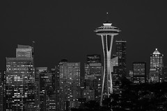 Focus on Space Needle with downtown buildings with sunset light (Jim Corwin's PhotoStream) Tags: nw pacificnorthwest seattle spaceneedle spaceneedleskyline architecture attractions bw blackandwhite buildings citybuildings citylights cityscape contrast destinations display downtown dusk exteriors famousplace hat horizontal illuminatedby lifestyle light local nationallandmark newskyline nighttime officebuildings outdoors photography placestosee sightseeing skyline skylines skyscrapers sunlight sunset timeexposure tourism tourists travel twilight urbanscene