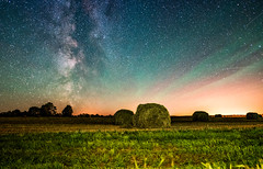 Starry Hay Bales (free3yourmind) Tags: starry hay bales milky way stars night sky belarus field colorful grass