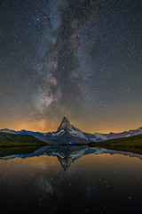 Stellisee milky way (lukas schlagenhauf) Tags: stellisee matterhorn valais wallis switzerland myswitzerland reflection milkyway creativcommons milchstrasse alps mountains night nightscape stars astrophotography