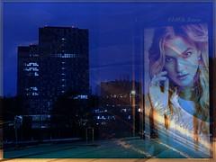 La hora azul (mariadoloresacero) Tags: réflexions reflections reflejos publicitario cartel buildings bâtiments edificios composition composición hour time blue heure bleue urbaine montage hora azul urbana montaje
