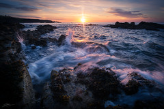End of the Summer (ScottSimPhotography) Tags: dawn beach rocks sea coast coastal wavessplash clouds morning sunsunrise north scotland stonehaven aberdeenshire britain british summer visitscotland visitbritain travel panorama sonya6000 rokinon wideangle manfrotto