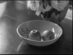 dining room table, bowl, apples, flowers, Rockland, Maine, Mamiya 645 Pro, mamiya sekor 145mm f-4.5, soft focus lens, Arista.Edu 200, Moersch Eco Film Developer, early August 2017 (steve aimone) Tags: table diningroom bowl apple flowers stilllife rockland maine mamiya645pro mamiyasekkor145mmf4 softfocus softfocuslens mamiyaprime primelens aristaedu200 moerschecofilmdeveloper blackandwhite monochrome monochromatic mediumformat 120 film 120film