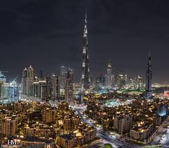 Dubai Downtown (Hany Mahmoud) Tags: dubai burjkhalifa emirates dubaiskyline cityskyline cityscape tower skyscraper downtown uae urban night lights pano panorama hotel travel gulf city nikon ngc