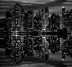 Inverted Reality (B&W) (Bernai Velarde-Light Seeker) Tags: panama city skyline waterfront buildings urban apartments night blackandwhite bw seafront seaside reflections bernai velarde centralamerica