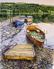 August evening on Coniston Water, Cumbria (jeff smith 55) Tags: water lakes coniston cumbria watercolour mixedmedia reflections