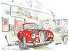 Aiffres, dans l'atelier, une Jaguar MKII (Croctoo) Tags: croctoo croctoofr croquis aquarelle watercolor auto autoancienne jaguar garage