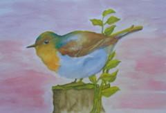 Bird, by Naysa - DSC01622 (Dona Minúcia) Tags: art painting watercolor study paper animal bird cute arte pintura aquarela pássaro passarinho gracinha fofo