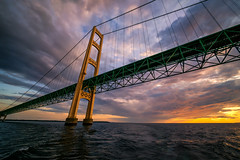 The Mighty Mac [EXPLORED] (Travis Rhoads) Tags: 2017 sonyilce7rm2a7rii voigtlanderultrawideheliar12mmf56asphericaliii architecture bridges clouds goldenhour nikcollectionbygoogle sunset thegoldenhour copyright2017 travisrhoadsphotography michigan lakehuron themightymac mackinacbridge