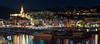Côte d'Azur - Menton (Rafael Zenon Wagner) Tags: 70mm panorama nacht night hafen harbour bay city lights stadt lichter spiegelung reflection colorful bunt red purple yellow blue green rot pink gelb blau grün facade fassade boats boote nikon d810 longexposure langzeitbelichtung palmen palms