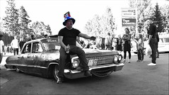 President of the hood... (Papa Razzi1) Tags: 9379 2017 238365 president hood summer august people sweden grandprixraggarbil2017 chevy impala sc selectivecolor