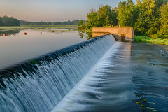 Overflow (tquist24) Tags: elkhartriver goshen goshendampond hdr indiana nikon nikond5300 buoy dam geotagged longexposure morning reflection reflections river sky spillway tree trees water
