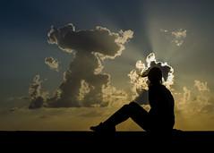[ Alienati - Alienated ] DSC_0838.R2.jinkoll (jinkoll) Tags: clouds girl gal silhouette sunset rays parapet sky balustrade wind hair beauty people sit sitting seated