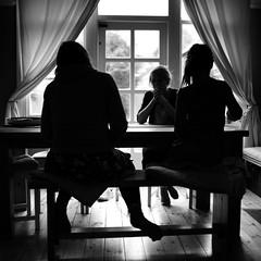 Those three (Andrew Malbon) Tags: girls women talking planning craft table dining shadows blackandwhite mono monochrome leica leicam9 m9 35mm summilux f14 wideangle portrait contrast highcontrast window curtains love three 3