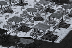 Tables and Chairs Monochrome (Thad Zajdowicz) Tags: zajdowicz losangeles california usa thegettycenter gettyinspired canon eos 5dmarkiii dslr digital availablelight lightroom ef24105mmf4lisusm blackandwhite geometric abstract fineart architecture furniture tables chairs light shadow lines curves angles shapes terrace monochrome bw black white outdoor outside elitegalleryaoi bestcapturesaoi aoi