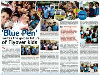 """News Article by Sanjay Chaturvedi on 06.08.2017, Titled """"Blue Pen writes Golden future of Flyover kids"""" in Impression Times"""