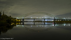 Silver Jubilee Bridge, Runcorn, Cheshire. 20th August 2017. (craigdouglassimpson) Tags: nightscenes bridges water reflections manchestershipcanal silverjubileebridge runcorn cheshire england