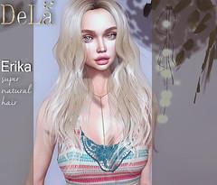 "=DeLa*= new hair ""Erika"" (=DeLa*=) Tags: dela hair fitted rigged mesh materials secondlife secondlifefashion sl slhair style new shiny shabby"