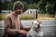 Along a Country Road, I Met... (8/100) (Selkii's Photos) Tags: 100strangers bulldog dogs oldenglishbulldog oregon pets pigthedog sunnyvalley thehumanfamily unitedstates
