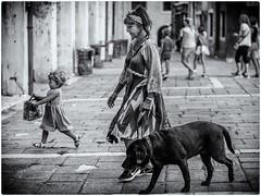 Le chienchien à sa mamie... (bertranddorel) Tags: venise enfant chien noiretblanc blackwhite wb bw street streetphoto woman rue