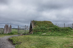 Keep the Home Fires Burning (gabi-h) Tags: lanseauxmeadows sodhouse vikings architecture fence fencefriday gabih newfoundland grass historical unescoworldheritagesite norse green blue sky