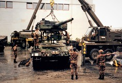Dismantling & reassembling a tank at the Swiss Army garrison, Thun (photo by Jean Upton)