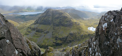 Skye Panorama12 (nic0704) Tags: scotland hiking walking climbing summit highlands outdoor landscape hill mountain foothill peak mountainside cairn munro mountains skye isle island cuilin cuillin blaven blà bheinn red black elgol