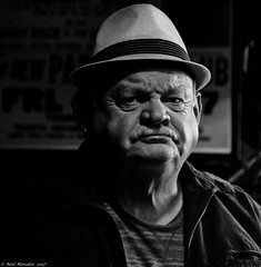 Elmer. (Neil. Moralee) Tags: usa2017neilmoralee man hat bar drink alcohil memphis tennessee usa neil moralee nikon d7200 black white sad disapointed upset depressed old mature face portrait mono monochrome bw bandw blackandwhite beale street moustache america american dark high iso sullen blues grainy elmer trilby herringbone