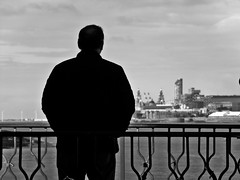 Thinking of Liverpool (llocin) Tags: eastham blackandwhite monochrome liverpool man contemplation