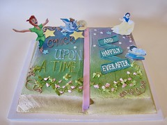 Once Upon A Time... And Happily Ever After Baby Shower 400263 (Creative Cakes - Tinley Park) Tags: bookcake fondantribbon freehand standingedibleimage edibleimage fondantstars flowersandvining agedpages mothergoose peterpan snowwhite babyonbooks