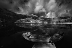 BLACK EYES (Nenad Spasojevic) Tags: sonyalpha lake clouds drama white exploration nature noir serbia nenadspasojevic reflection nenadspasojevicart 2017 black landcsape shadows boats gorskeoci mountain naturalwonder blackeyes blackandwhite water montenegro blacklake orthodox infrared crnagora medjedpeak serbian crnojezero light monochrome chicago illinois il usa