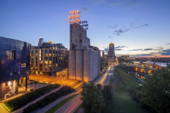 Gold Medal Flour (Sam Wagner Photography) Tags: gold medal flour minneapolis guthrie endless bridge view vista mill city ruins park stone arch third ave hennepin mississippi river long exposure motion blur twilight summer blue hour minnesota midwest architecture landmark