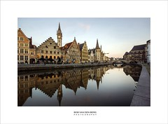 Ghent....back in time (Zino2009 (bob van den berg)) Tags: gent belgium welthy rich early goldenage gold houses waterfront kai kay tower steps facade canal reflection bluehour quiet light mirror standing walk citytrip city centre neighbours country sunny cityscape old mediaval middleage history zino2009 gand ghent