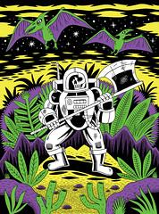 Heavy Metal (Jack Teagle) Tags: dayglo poster screenprint heavymetal deadastronaut dinosaurs drawing